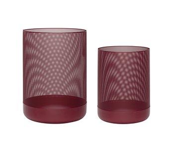 Hubsch Cestini rotondi in metallo - rosso bordeaux