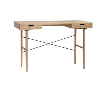 Hubsch Bureau en bois avec 2 tiroirs de rangement - naturel