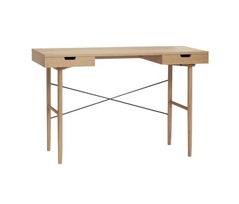 Hubsch Wooden desk with 2 storage drawers - natural