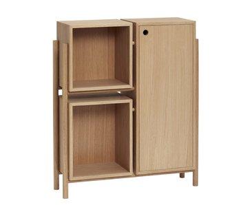 Hubsch Wooden cupboard with shelves and door - natural
