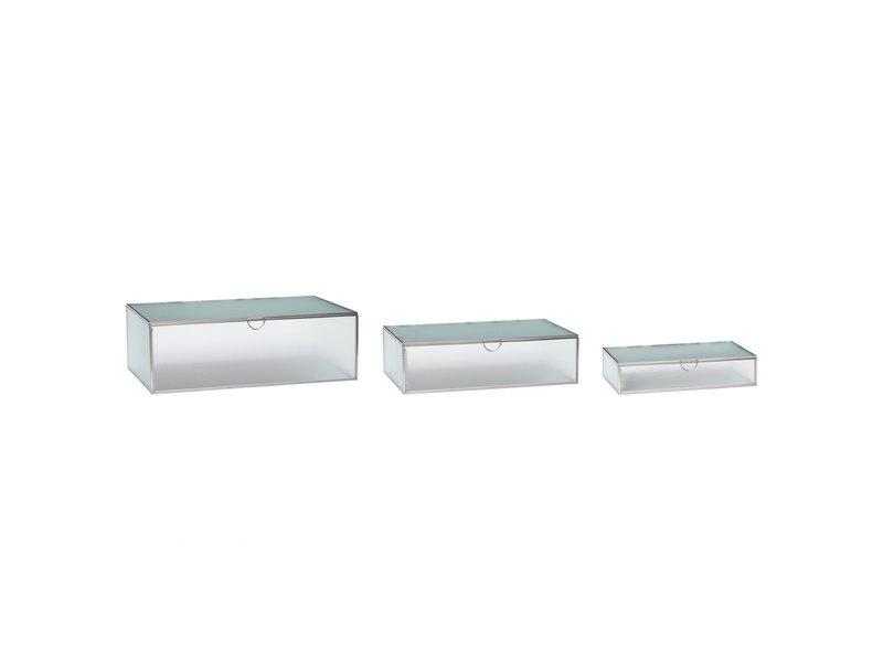 Hubsch Glazen box mat zilver - set van 3 stuks
