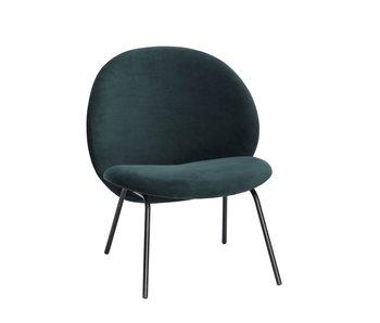 Hubsch Lounge stol med metalben - grøn