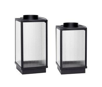 Hubsch Lanternes métal noir - lot de 2 pièces