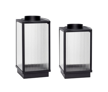 Hubsch Lanterns metal black - set of 2 pieces