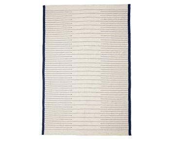 Hubsch Vævet tæppe - blå / hvid
