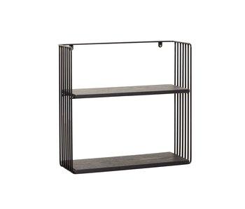 Hubsch Væghylde metal / træ - sort