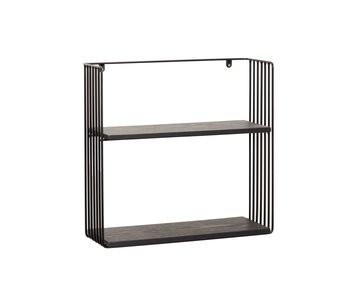 Hubsch Wall shelf metal / wood - black