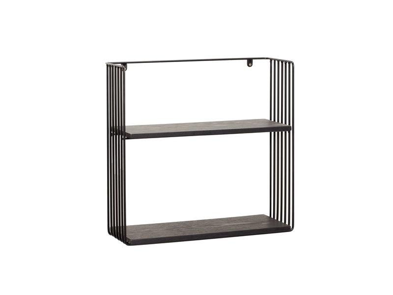 Hubsch Wandplank metaal/hout - zwart