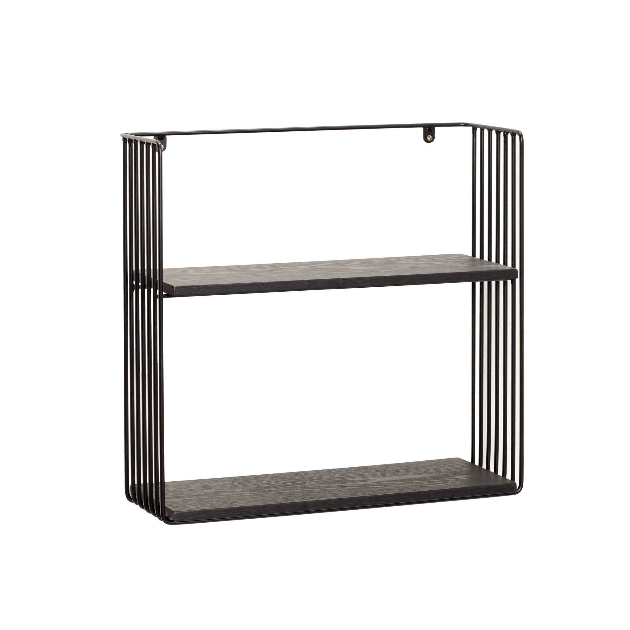 Wall To Wall Shelves hübsch wall shelf metal / wood - black