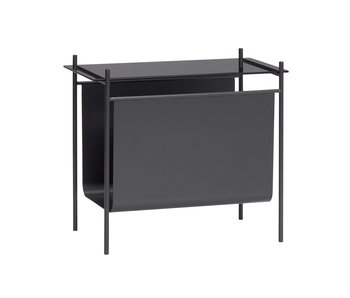 Hubsch Table with magazine holder - black