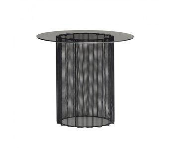 Hubsch Bijzettafel metaal/glas - zwart