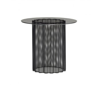 Hubsch Metal / glass side table - black