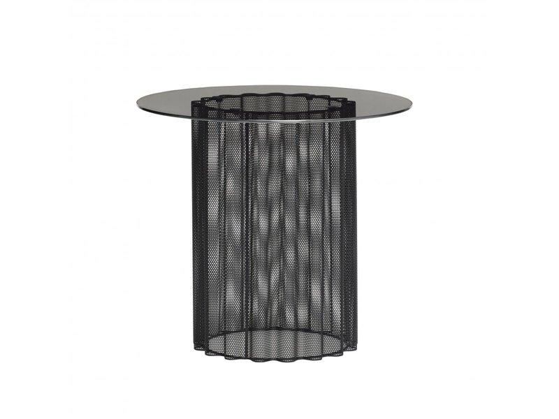 Hubsch Sidobord av metall / glas - svart
