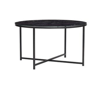 Hubsch Sofabord metal / glas - marmor sort