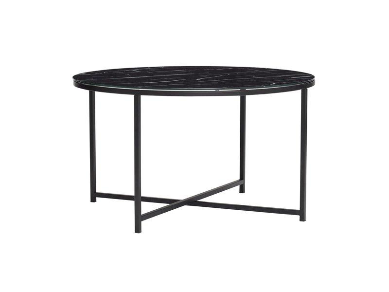 Hubsch Salontafel metaal/glas - marmer zwart