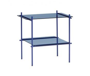 Hubsch Table d'appoint carrée métal / verre - bleu