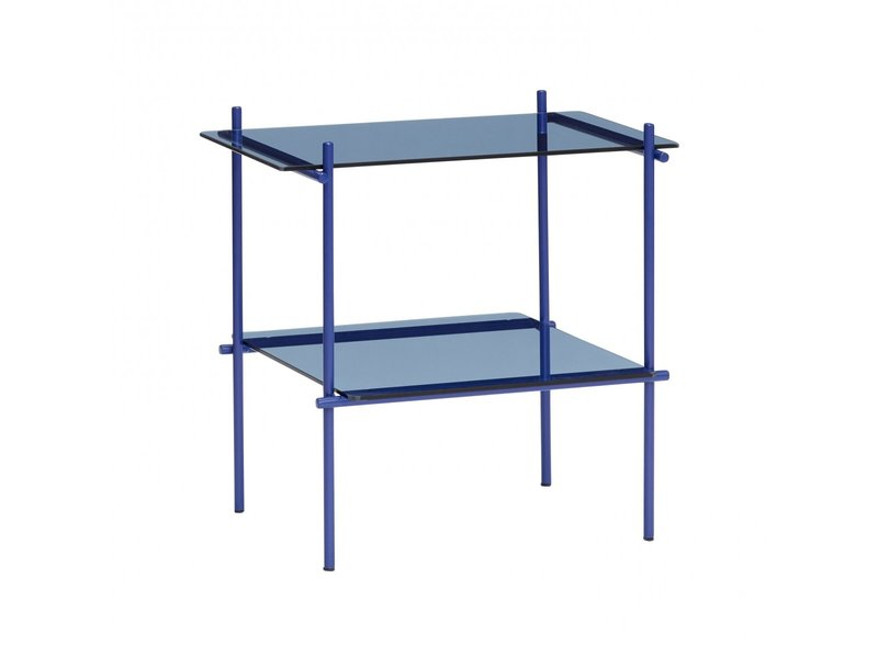 Hubsch Vierkante bijzettafel metaal/glas - blauw
