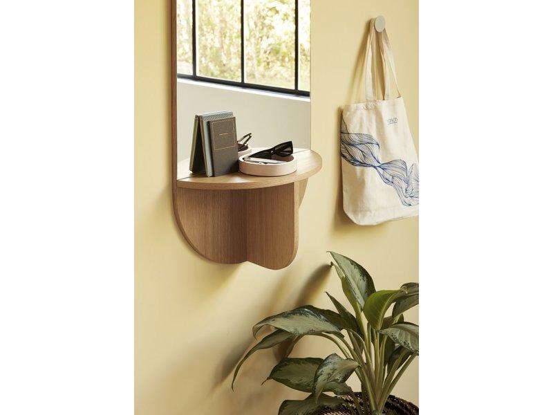 Hubsch Wandspiegel eikenhout met plank - naturel