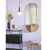 Hubsch Oak wall mirror with shelf - natural