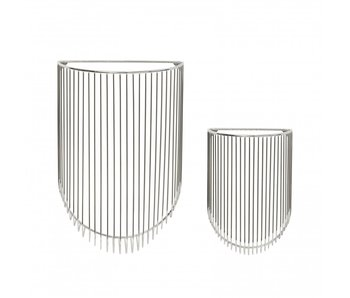 Hubsch Metal baskets for on the wall - chrome set of 2 pieces