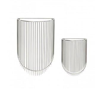 Hubsch Paniers métalliques pour le mur - chrome set de 2 pièces