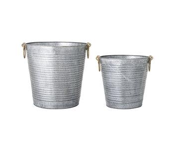 Bloomingville Set de pots de fleurs gris - métal