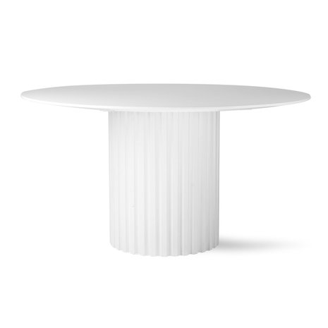 Hk Living Pillar Dining Table Round, White Round Table