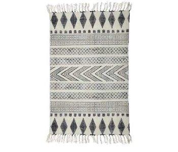 House Doctor Block tæppe bomuld hvid grå 160x230