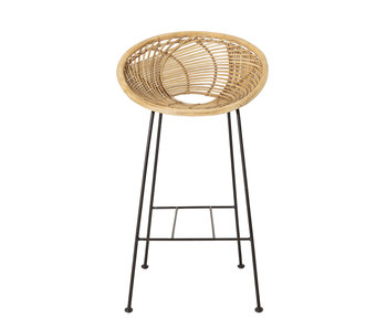 Bloomingville Tabouret de bar Yonne en rotin - naturel