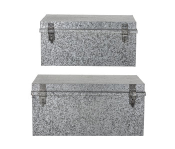 Bloomingville Aufbewahrungsboxen mit Deckel Metall - Silber 2er Set