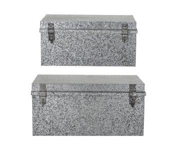 Bloomingville Oppbevaringsbokser med lokk metall - sølv sett av 2 stk