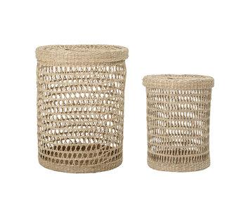 Bloomingville (lavado) cestas con tapa - juego de 2 piezas