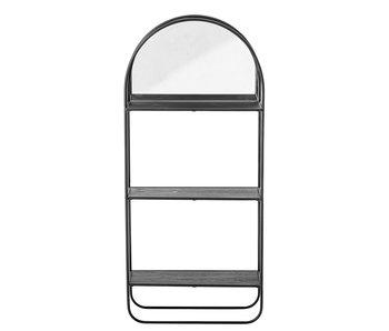 Bloomingville Espejo con estantes metal - negro