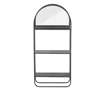 Bloomingville Mirror with shelves metal - black