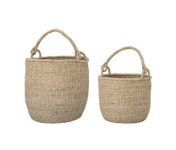 Bloomingville Basket with handle seagrass set of 2 pieces