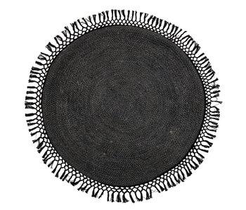 Bloomingville Tapis rond en jute noir - Ø122 cm