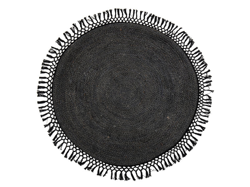 Bloomingville Vloerkleed rond jute zwart- Ø122 cm