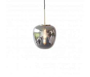 Hubsch Lampe suspendue en verre gris avec détail en laiton