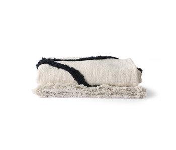 HK-Living Tuftad pläd - naturlig / svart 130x170cm