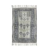 HK-Living Printed badmat - zwart/wit