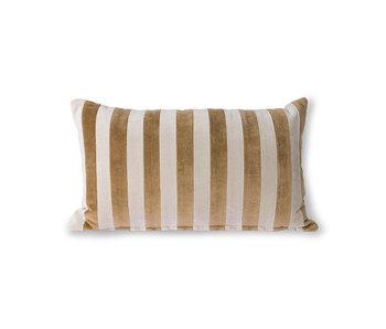 HK-Living Gestreept velvet kussen - bruin/naturel 30x50cm