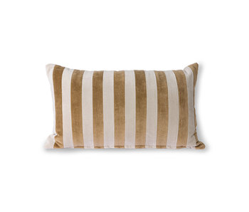HK-Living Randig sammetkudde - brun / naturlig 30x50 cm