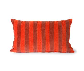 HK-Living Gestreept velvet kussen -rood/bordeaux 30x50cm