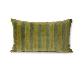 HK-Living Cojín de terciopelo a rayas-verde / camuflaje 30x50cm