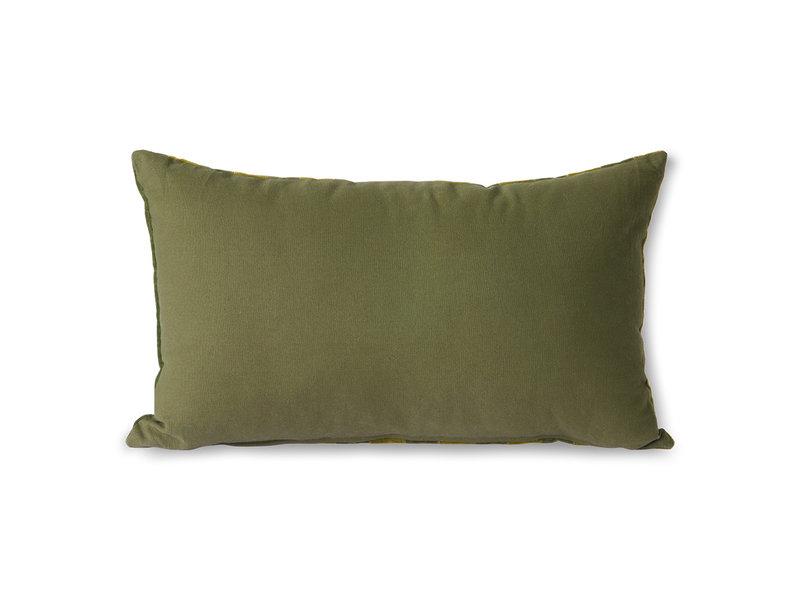 HK-Living Gestreept velvet kussen -groen/camo 30x50cm