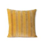HK-Living Randig sammetkudde - ockra / guld 45x45cm