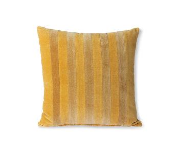HK-Living Cojín de terciopelo a rayas - ocre / dorado 45x45cm