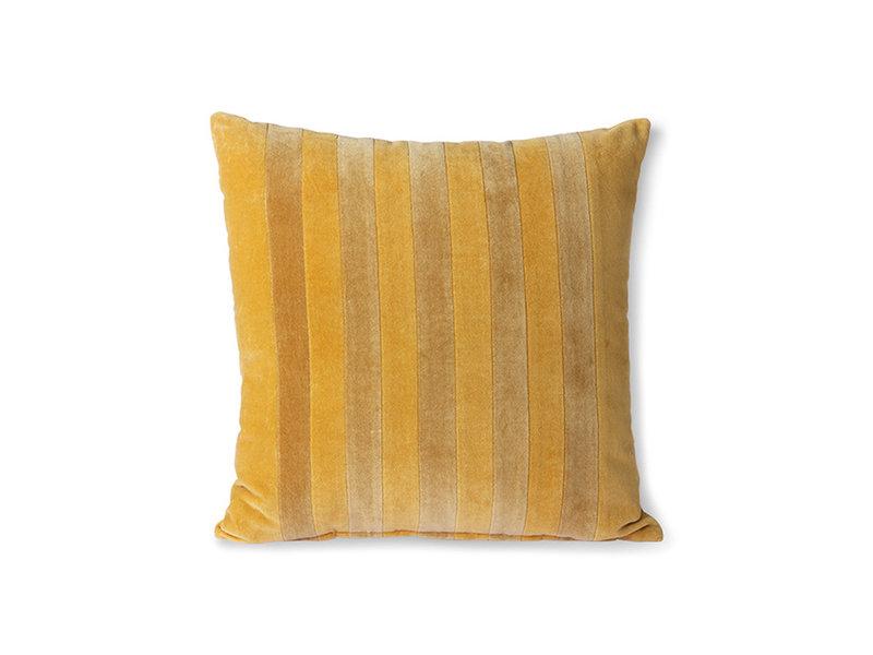 HK-Living Gestreept velvet kussen - oker/goud 45x45cm