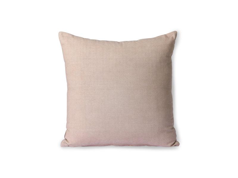 HK-Living Gestreept velvet kussen - beige/lever 45x45cm