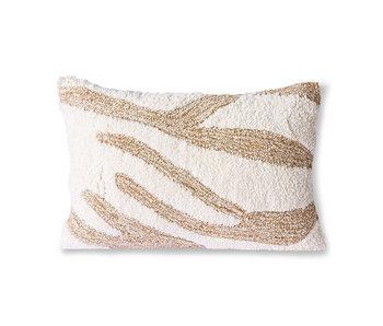 HK-Living Cojín esponjoso-blanco / beige 35x55 cm